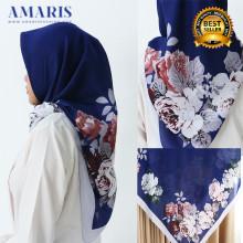 Amaris Fashion - Jilbab Segiempat Murah - Hijab Motif Bunga Biru Bca