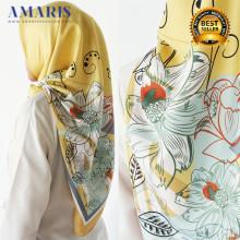 Amaris Fashion - Jilbab Segiempat Murah - Hijab Satin Velvet Kuning - Scraft