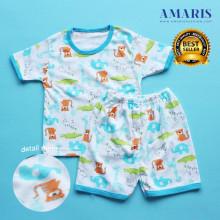 Amaris Fashion - Piyama Setelan Pendek Bayi Laki laki - Baju Tidur Bayi 0-12 Animal Edition