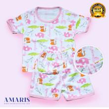 Amaris Fashion - Piyama Setelan Pendek Bayi - Baju Tidur Bayi 0-12 Animal Edition