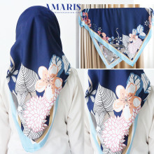 Amaris Fashion - Jilbab Segiempat Murah - Hijab Satin Velvet Navy - Scraft