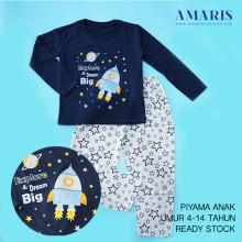 Amaris Fashion - Baju Setelan Anak Laki Laki - Piyama Tidur Anak Murah - Explore Navy
