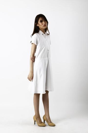 Missa Skater Shirt Dress in White-