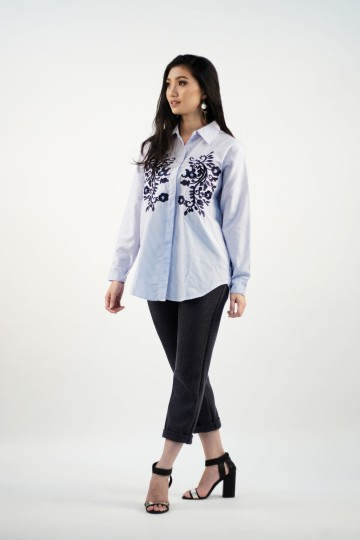 Riley Embroidery Shirt in Blue--