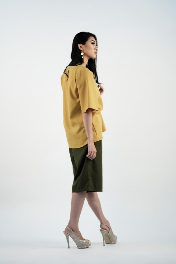Kassia Drape Blouse in Lime Yellow-