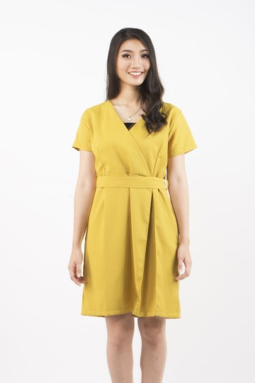 Maurice Side Pleat Dress in Lime Green-