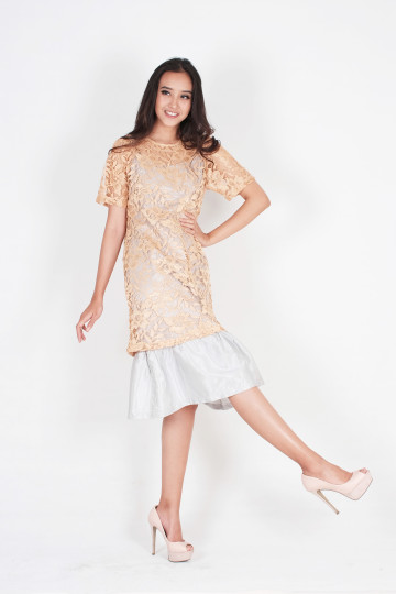 Happy Two Piece Lace Dress in Gold