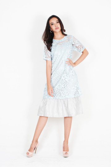 Happy Two Piece Lace Dress in Baby blue