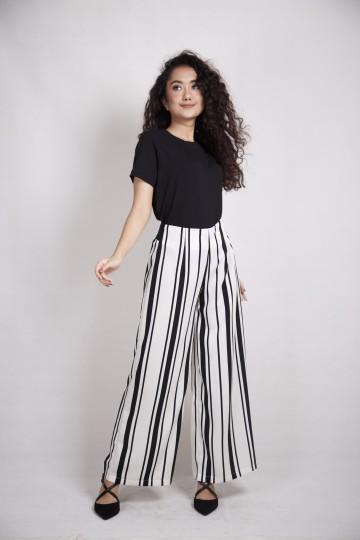 Stripe Maxi Cullote in White