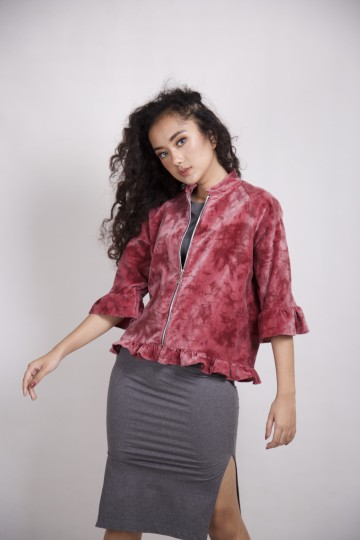 Velvet Suede Outer in Ruby Red