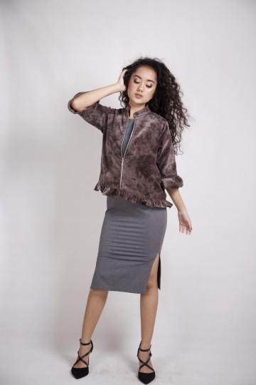 Velvet Suede Outer in Brown