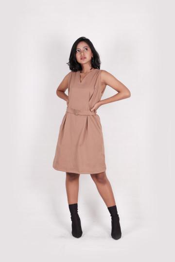 Velena Buckle Brown Dress