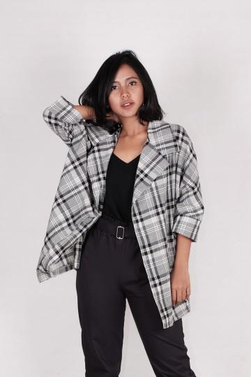 Plaid Cotton Blazer in Black