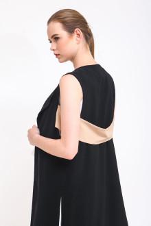 Hana Back Belted Vest - Black