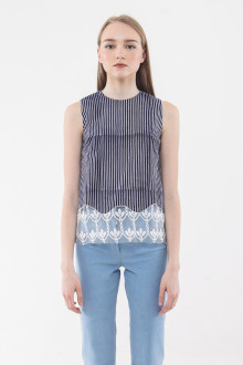Cabana Lace Top - Navy
