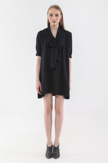 Tie Neck Dress - Black