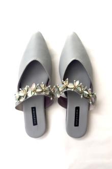 Philipa Beaded Mules - Grey
