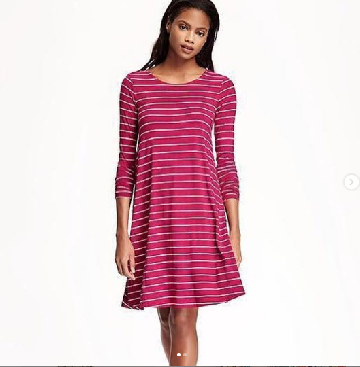 266cec0ebc969 OLD NAVY JERSEY KNIT SWING DRESS - Striped Pink image