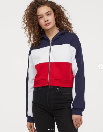 22a230ee4a5 H&M CROPPED HOODED JACKET - DARK BLUE/BLOCK-COLOURED image