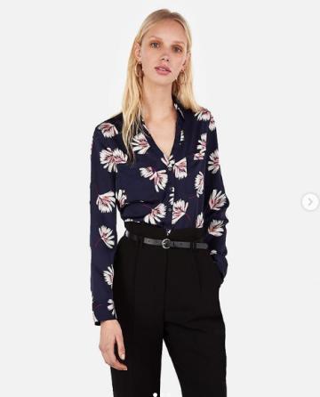 266a637a0880b Express slim floral Satin Portofino Shirt image