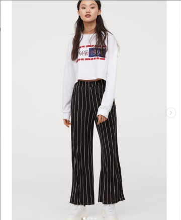 809bf67959e H M WIDE PANTS - Black Striped image