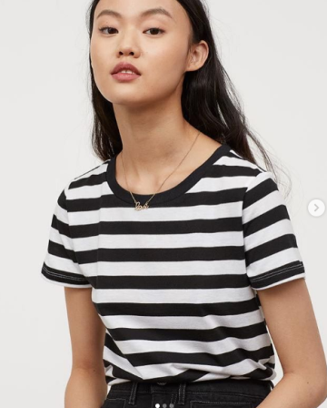 c9392939 H&M T shirt jersey - Black/White striped image