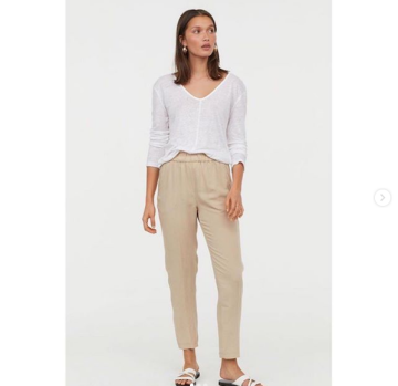 8120a9c6a8796a H&M pull on linen blend trousers image