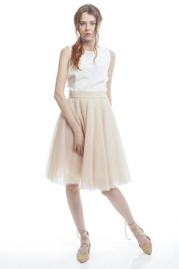 Marie Tulle Skirt - Beige