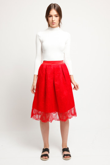 Coco Lace Skirt - Scarlet