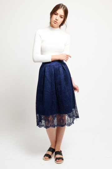 Coco Lace Skirt - Navy