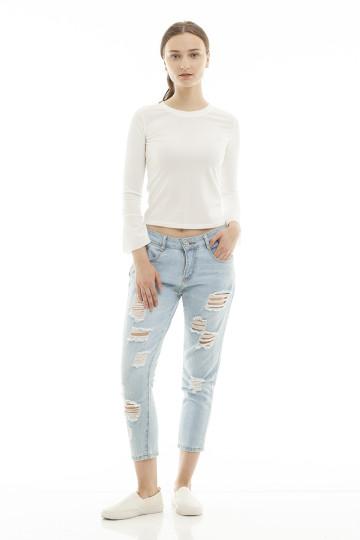 Malika Ripped Denim Pants - Light Blue