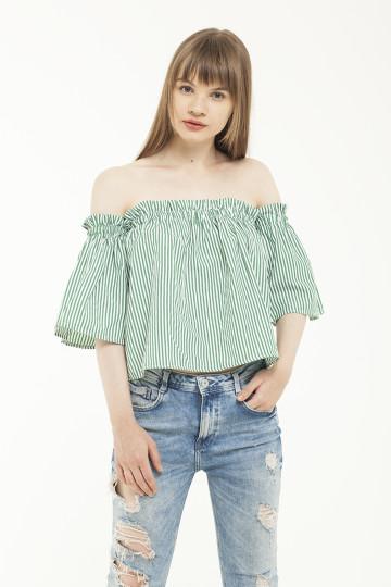 Emma Off-Shoulder Top - Green Stripe