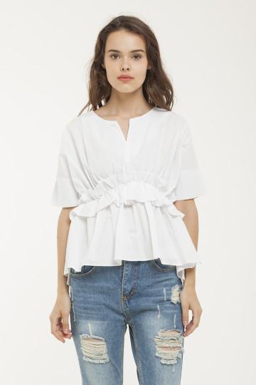 Hannah Mid Ruffles Top - White