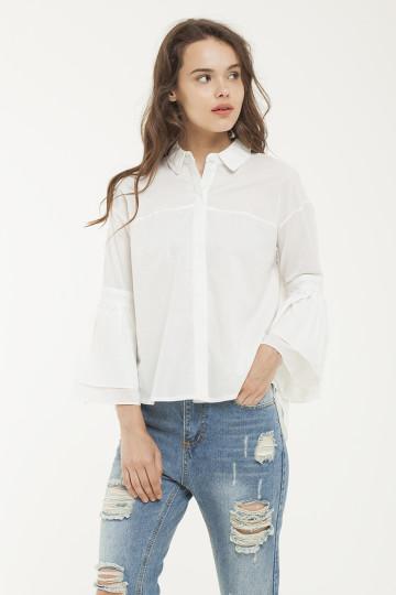 Eleanor Trumpet Sleeve Shirt - White