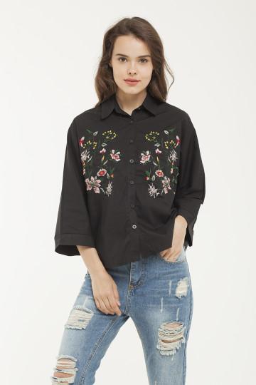 Flora Embro Shirt - Black