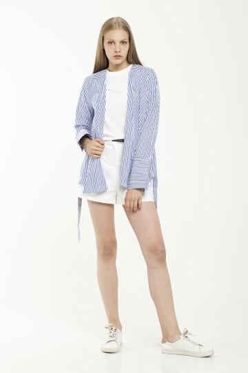 Lona Stripe Outer - White & Blue