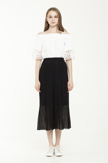 Tracie Pleated Culotte - Black