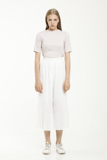 Tracie Pleated Culotte - White