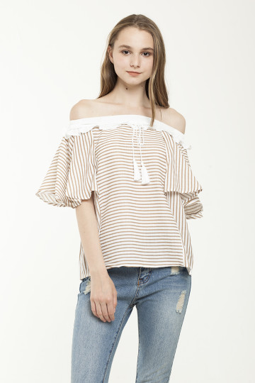 Lea Stripe Tassle Off Shoulder - Brown