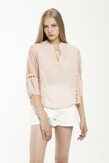 Evona Lace Sleeve Top - Pink