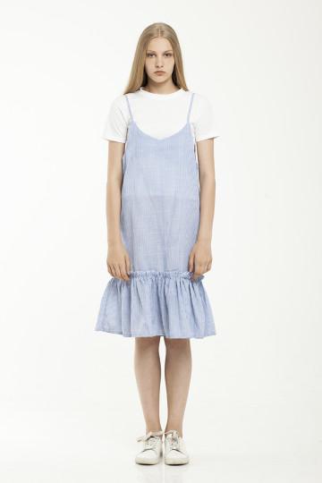 Yulya Stripe Dress Set - Blue