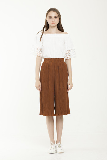 Olga Pleats Midi Culotte - Brown