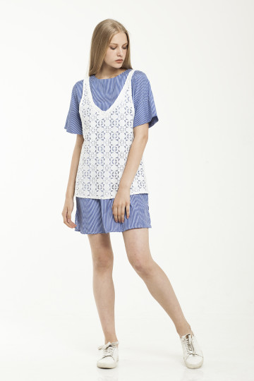 Aceline Lace Dress Set - Blue Stripe