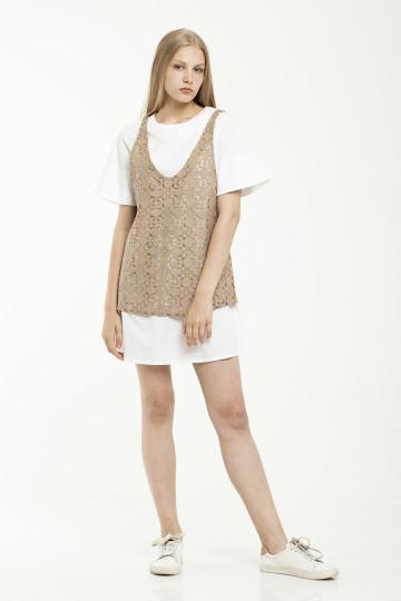 Aceline  Lace Dress Set - White