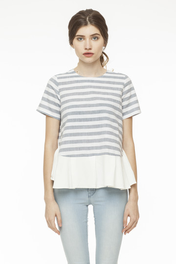 Lydia Stripe Top - Blue Grey