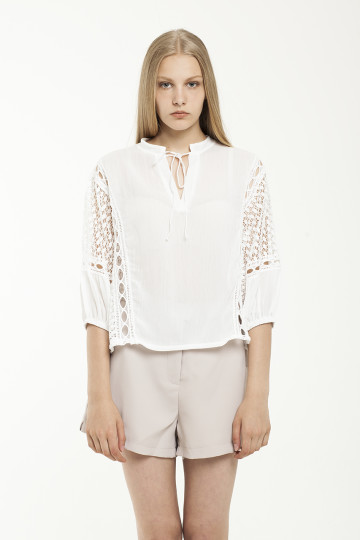 EVONA LACE SLEEVE TOP - White