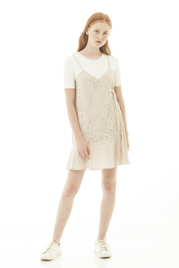 Madeleine Lace Tied Dress - Cream