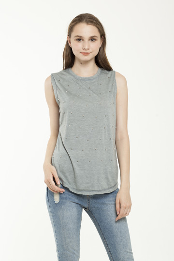 Evita studded Tank - Blue Grey