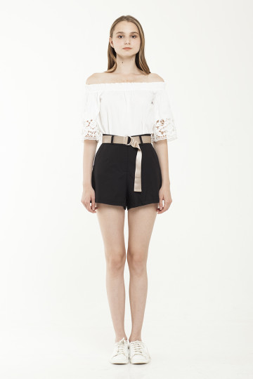 Lara Gold Belted Short - Black