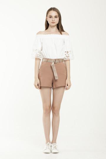 Lara Gold Belted Short - Brown